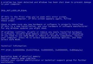 błędy systemu operacyjnego